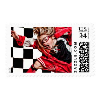 Child Girl Athlete Red Uniform kids soccer Stamps