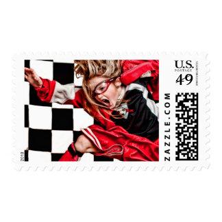 Child Girl Athlete Red Uniform kids soccer Stamp