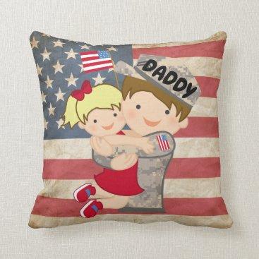 Child girl, daughter, Hugging Soldier Dad Pillow