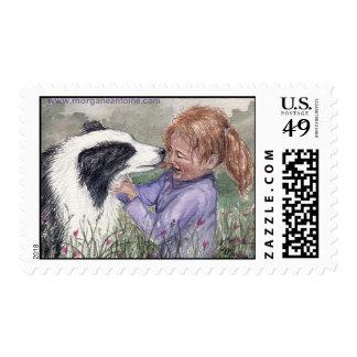 Child girl & dog friend medium postage stamp