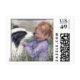 Child girl & dog friend small postage stamp