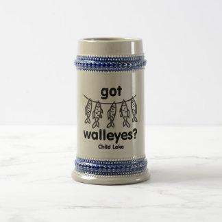child got walleye beer stein