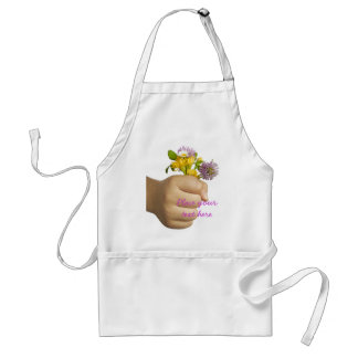 Child Hand Holding Flowers Aprons