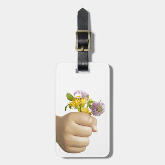 Child Hand Holding Flowers Bag Tag