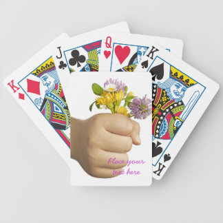 Child Hand Holding Flowers Bicycle Playing Cards