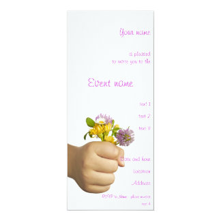Child Hand Holding Flowers Card
