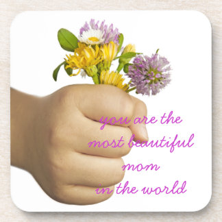 Child Hand Holding Flowers Drink Coaster