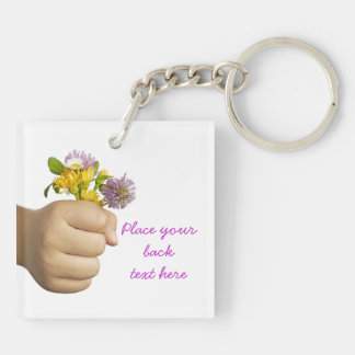 Child Hand Holding Flowers Double-Sided Square Acrylic Keychain