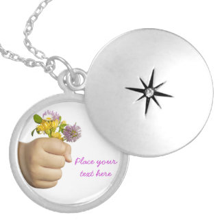 Child Hand Holding Flowers Locket Necklace