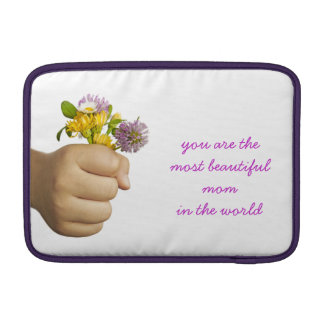 Child Hand Holding Flowers MacBook Sleeve