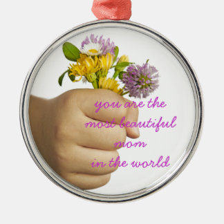 Child Hand Holding Flowers Metal Ornament