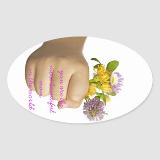 Child Hand Holding Flowers Oval Sticker