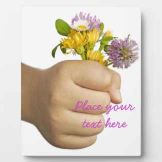 Child Hand Holding Flowers Plaque