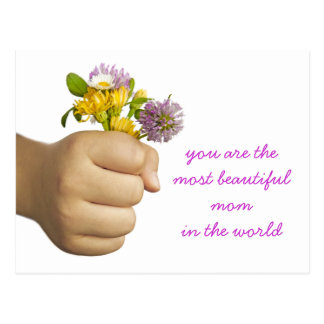 Child Hand Holding Flowers Postcard