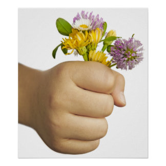 Child Hand Holding Flowers Poster