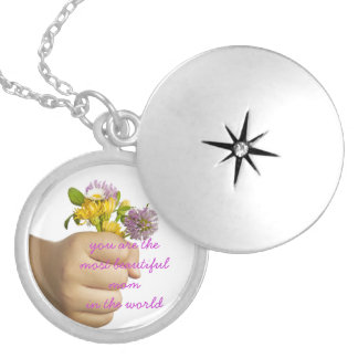 Child Hand Holding Flowers Silver Plated Necklace
