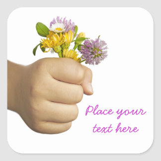 Child Hand Holding Flowers Square Sticker
