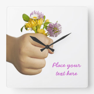Child Hand Holding Flowers Square Wall Clock