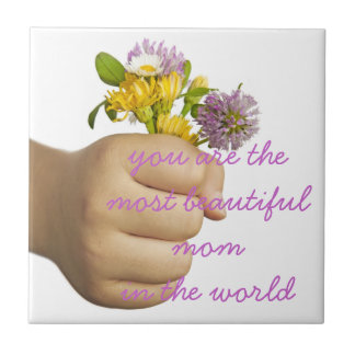 Child Hand Holding Flowers Tile