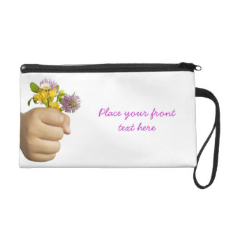 Child Hand Holding Flowers Wristlet Purse