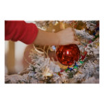 Child Hanging Christmas Ornament Print