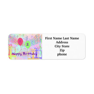 Child Happy Birthday Two Years Old Custom Return Address Labels