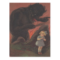 Child Hiding From Krampus Postcard
