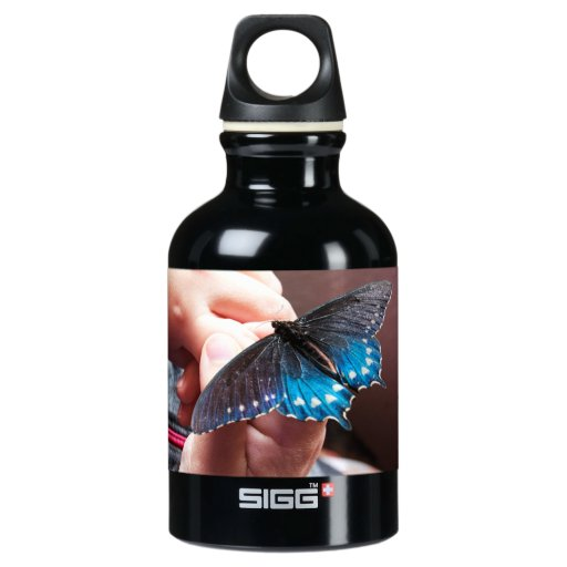 Child Holding a Butterfly Water Bottle