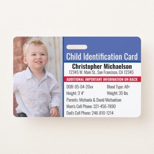 Child ID Identification Emergency Allergy Photo Badge