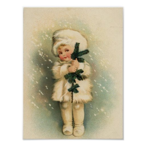 Child in a Snowstorm Card Poster