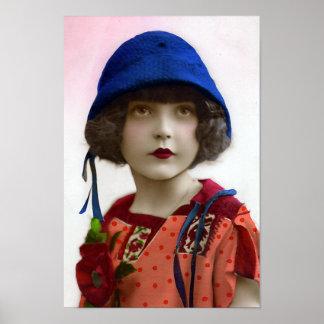 """""""Child in Blue Hat"""" Vintage Portrait Poster"""