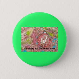 Child In Christmas Ornament Painting Pinback Button