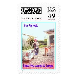 child in construction stamp