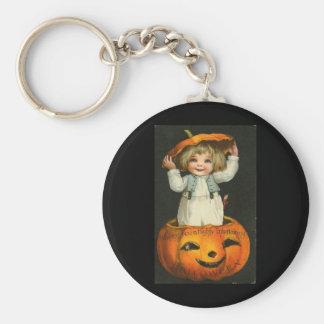child in jackolantern keychain