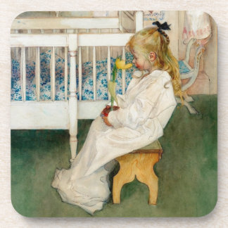Child in Nursery with Yellow Tulip Beverage Coasters