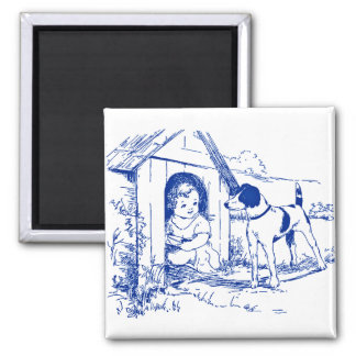 (Child) In the Dog House 2 Inch Square Magnet