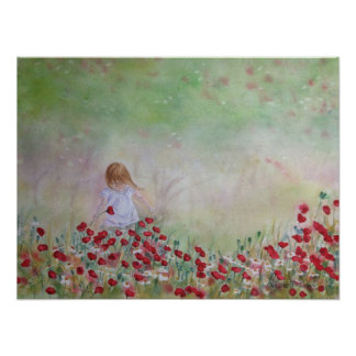 Child In the field of flowers Poster
