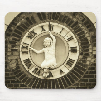 Child in time on old brick building mouse pad
