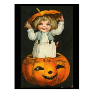 Child inside Pumpkin Postcard