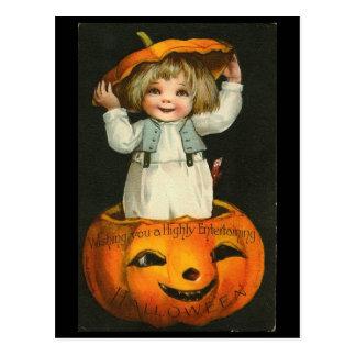 Child inside Pumpkin Postcard