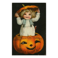 Child inside Pumpkin Poster