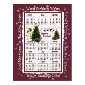 Child & Jack Russell Pink Poinsettia 2015 Calendar Post Card