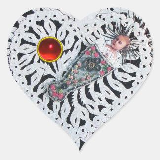 Child Jesus,Antique Christmas Heart Paper Carving Heart Sticker