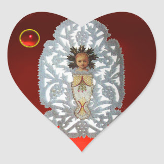 Child Jesus,Antique Christmas Paper Carving Ruby Heart Sticker