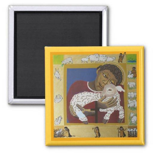 Child Jesus Good Shepherd 2 Inch Square Magnet