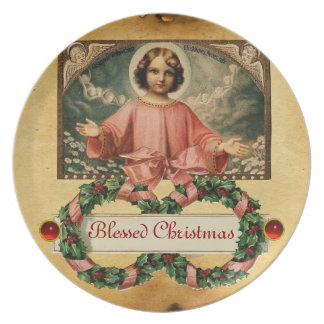 CHILD JESUS WITH ANGELS AND CHRISMAS CROWNS DINNER PLATE