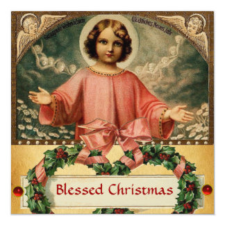 CHILD JESUS WITH ANGELS AND CHRISTMAS CROWNS CARD