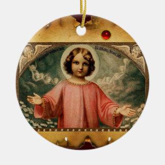 CHILD JESUS WITH ANGELS,  Parchment Ceramic Ornament