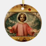 CHILD JESUS WITH ANGELS,  Parchment Christmas Ornament
