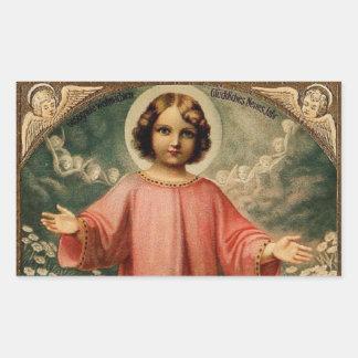 CHILD JESUS WITH ANGELS, RECTANGULAR STICKER
